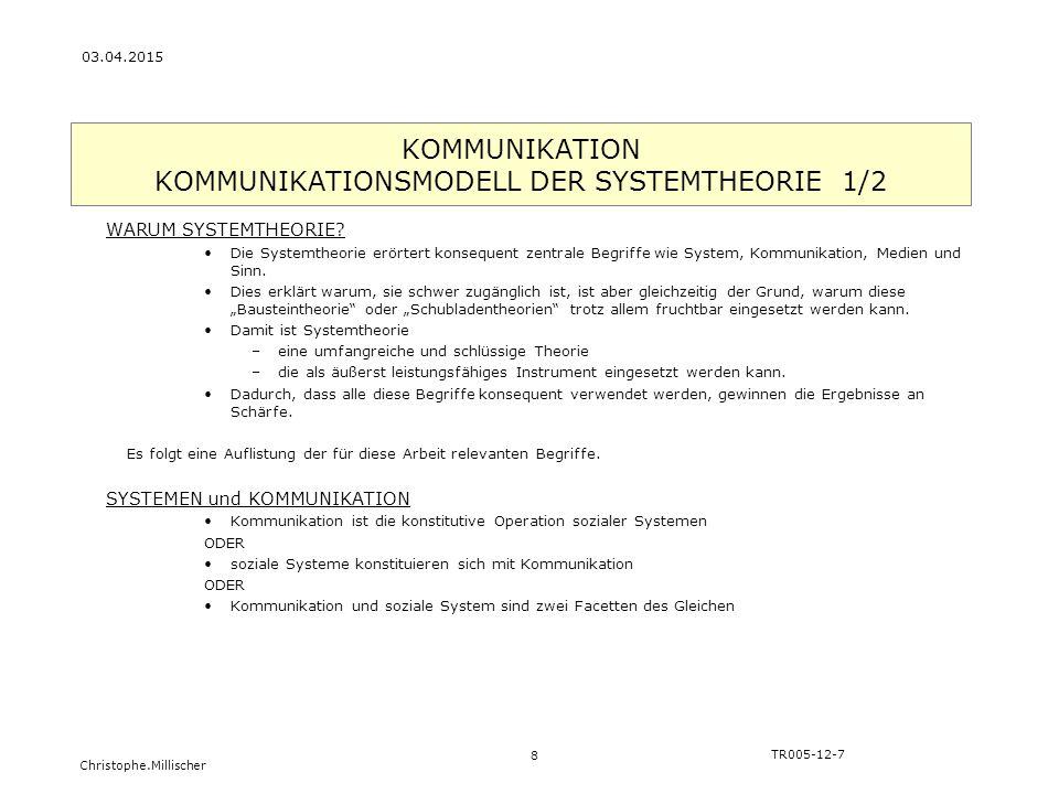 KOMMUNIKATION KOMMUNIKATIONSMODELL DER SYSTEMTHEORIE 1/2