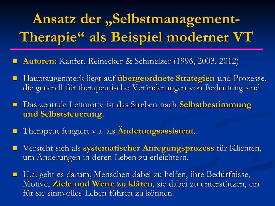 """Ansatz der """"Selbstmanagement-Therapie als Beispiel moderner VT"""