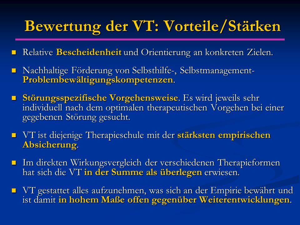 Bewertung der VT: Vorteile/Stärken