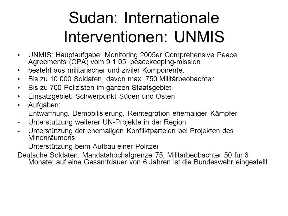 Sudan: Internationale Interventionen: UNMIS