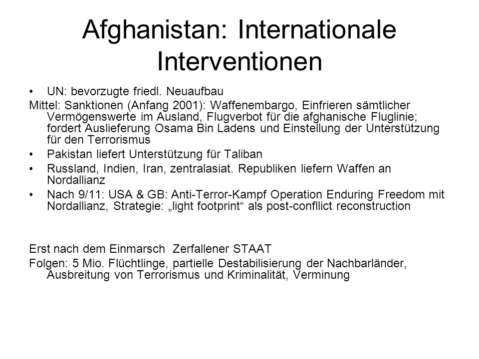 Afghanistan: Internationale Interventionen