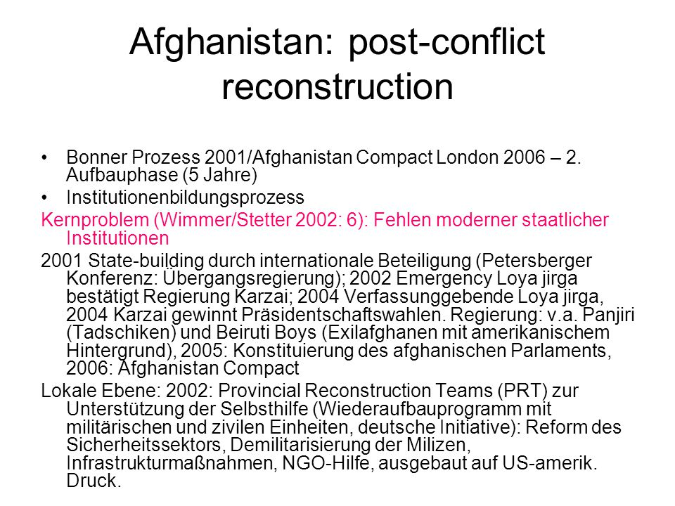 Afghanistan: post-conflict reconstruction