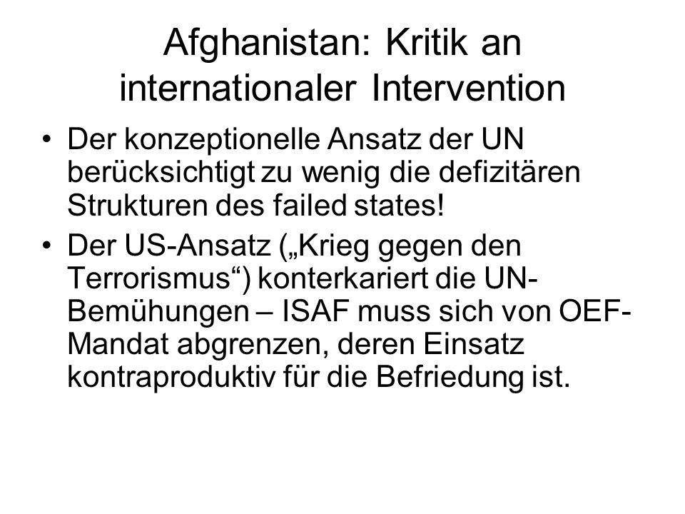 Afghanistan: Kritik an internationaler Intervention