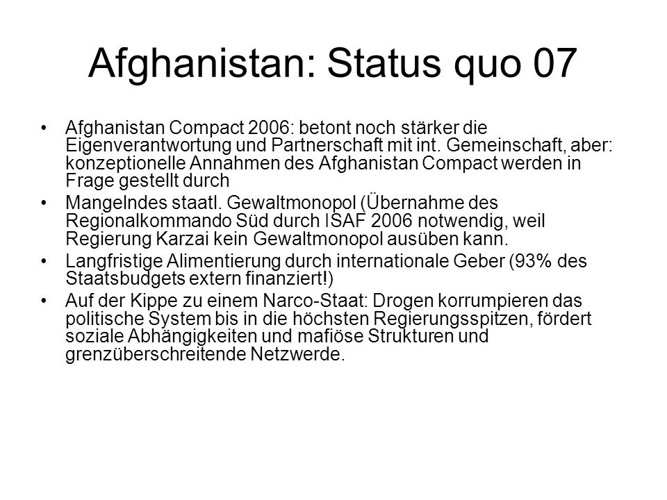 Afghanistan: Status quo 07