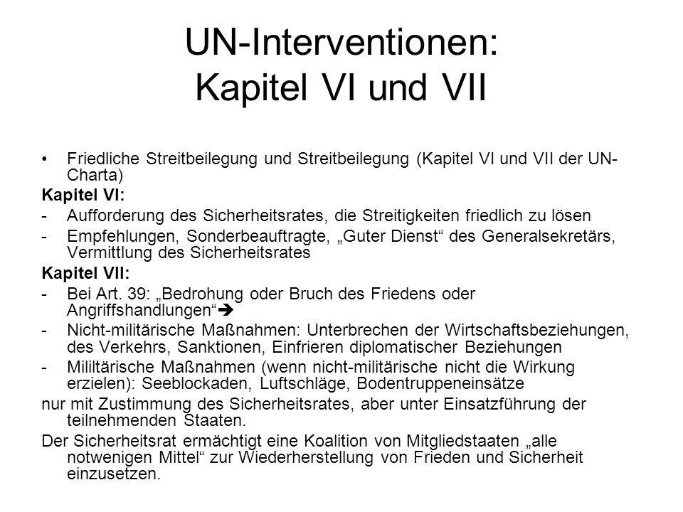 UN-Interventionen: Kapitel VI und VII
