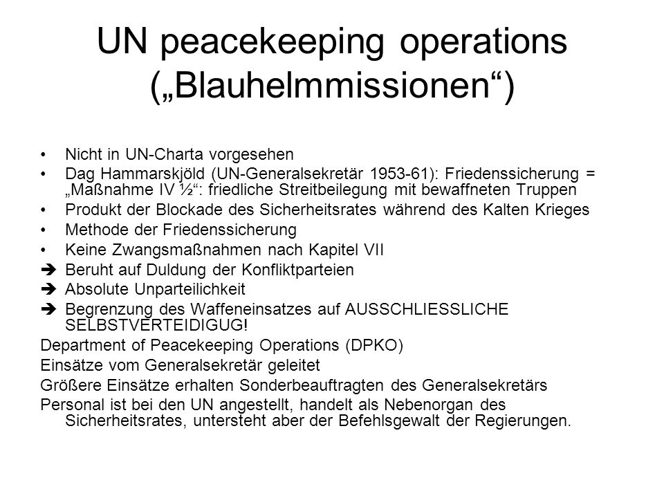 "UN peacekeeping operations (""Blauhelmmissionen )"