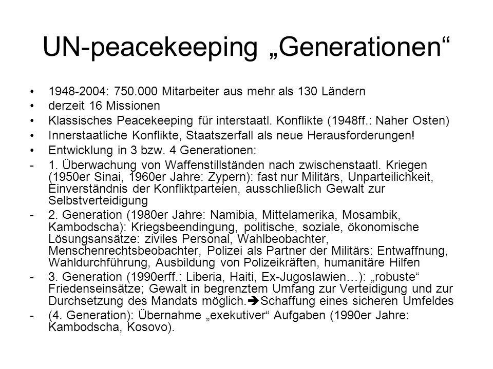 "UN-peacekeeping ""Generationen"