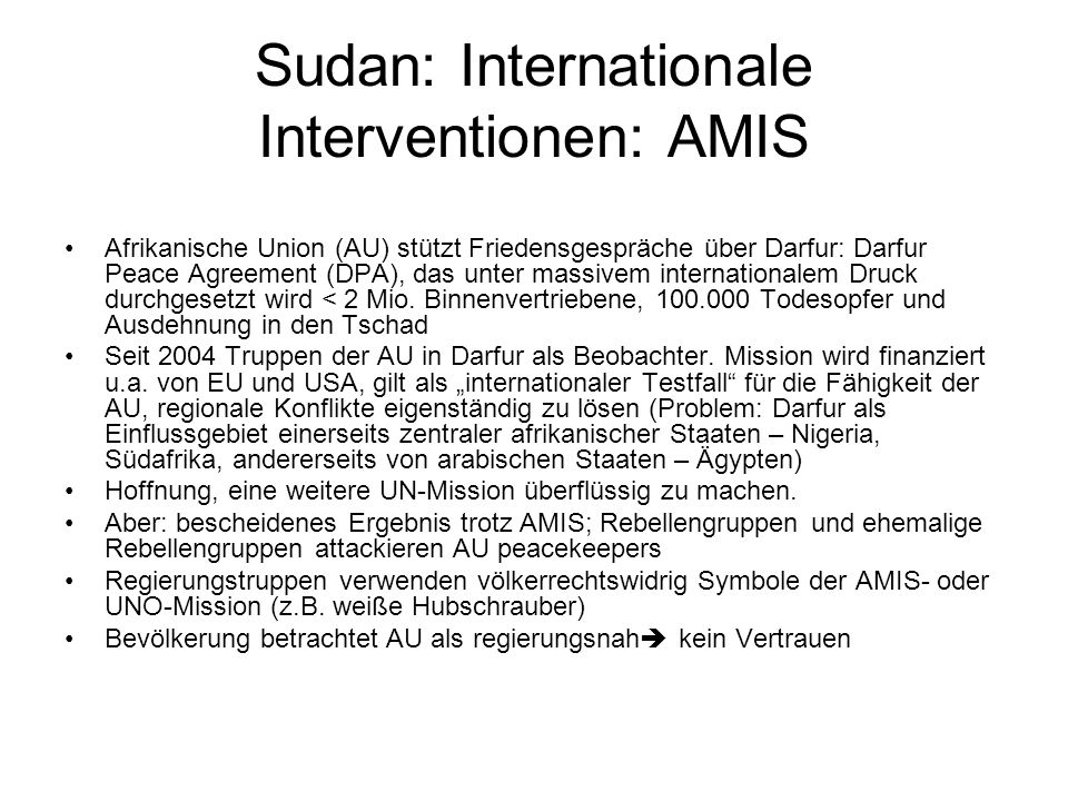 Sudan: Internationale Interventionen: AMIS