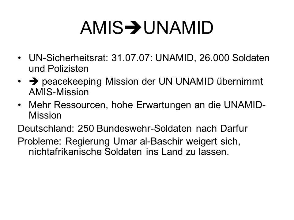 AMISUNAMID UN-Sicherheitsrat: 31.07.07: UNAMID, 26.000 Soldaten und Polizisten.  peacekeeping Mission der UN UNAMID übernimmt AMIS-Mission.