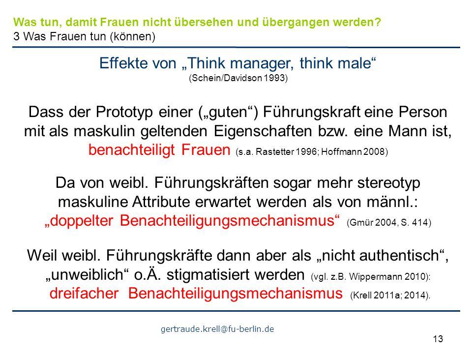 """Effekte von """"Think manager, think male (Schein/Davidson 1993)"""