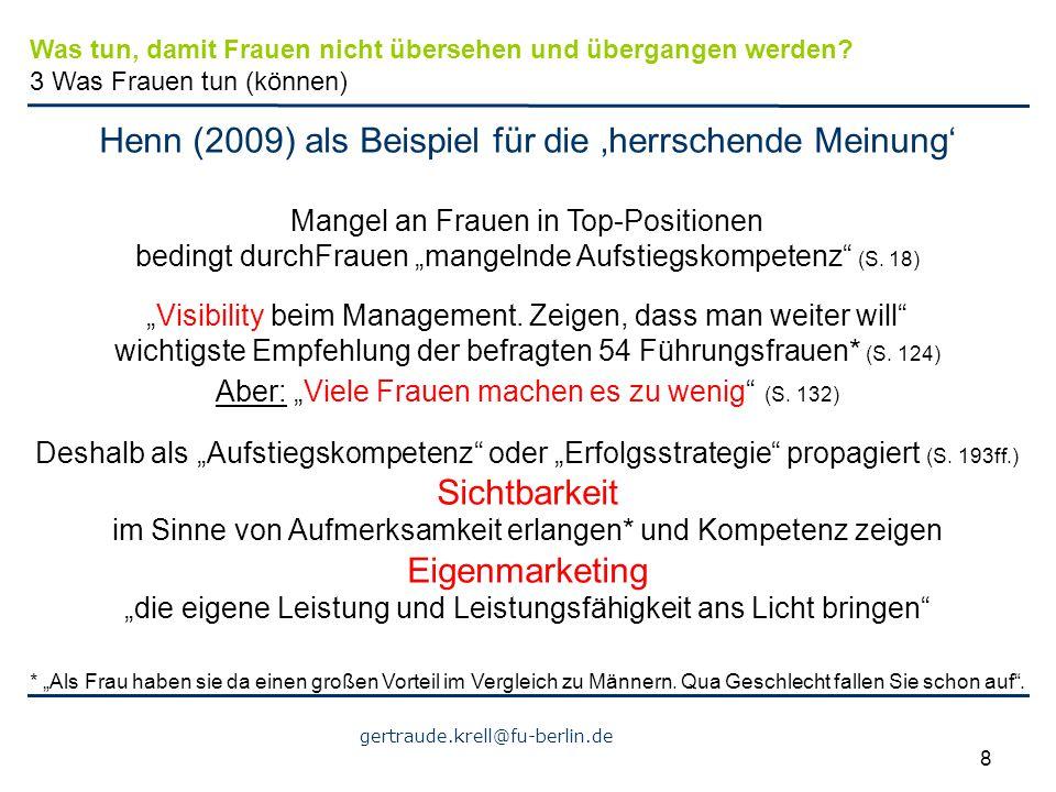 Henn (2009) als Beispiel für die 'herrschende Meinung'