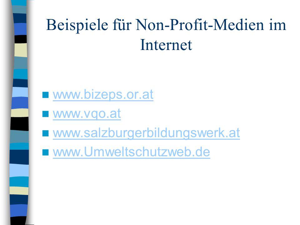 Beispiele für Non-Profit-Medien im Internet