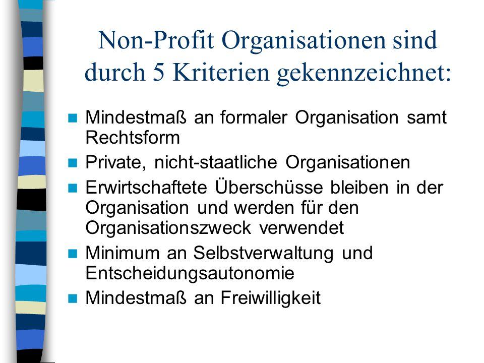 Non-Profit Organisationen sind durch 5 Kriterien gekennzeichnet: