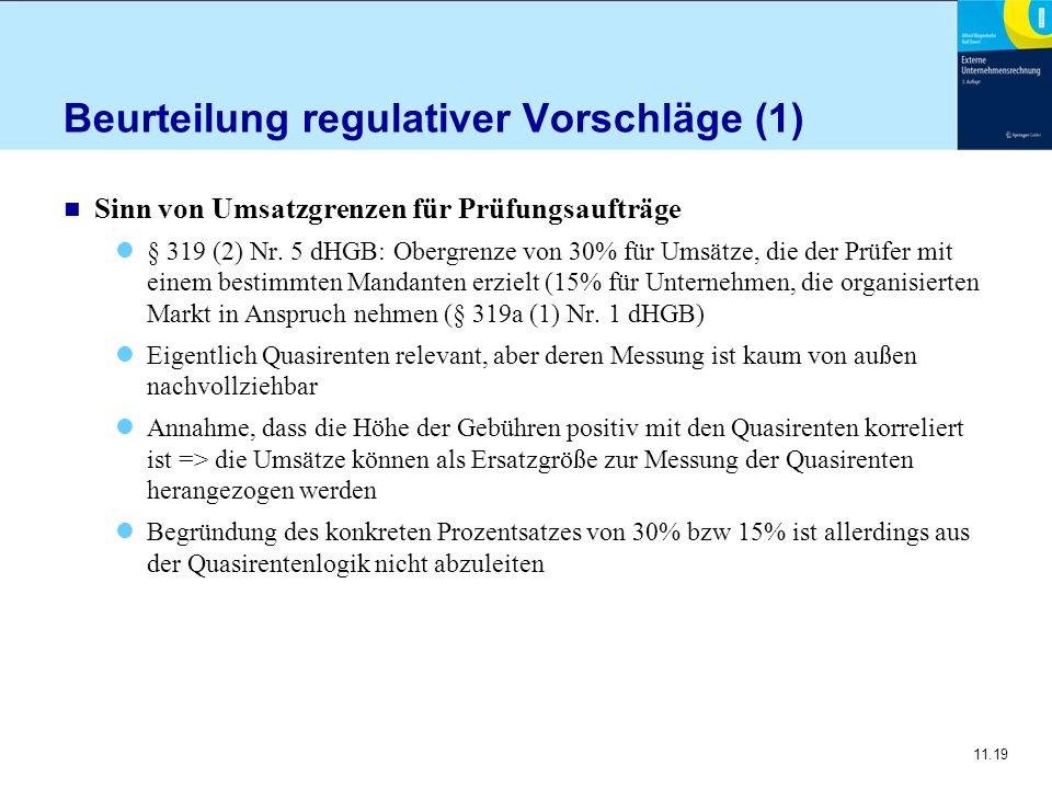 Beurteilung regulativer Vorschläge (1)