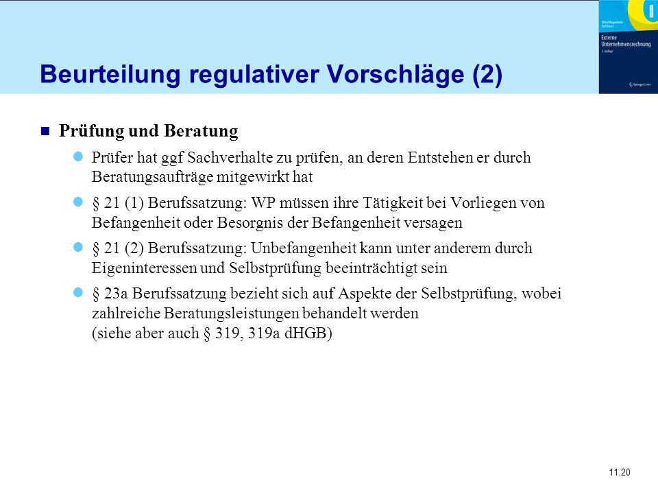 Beurteilung regulativer Vorschläge (2)