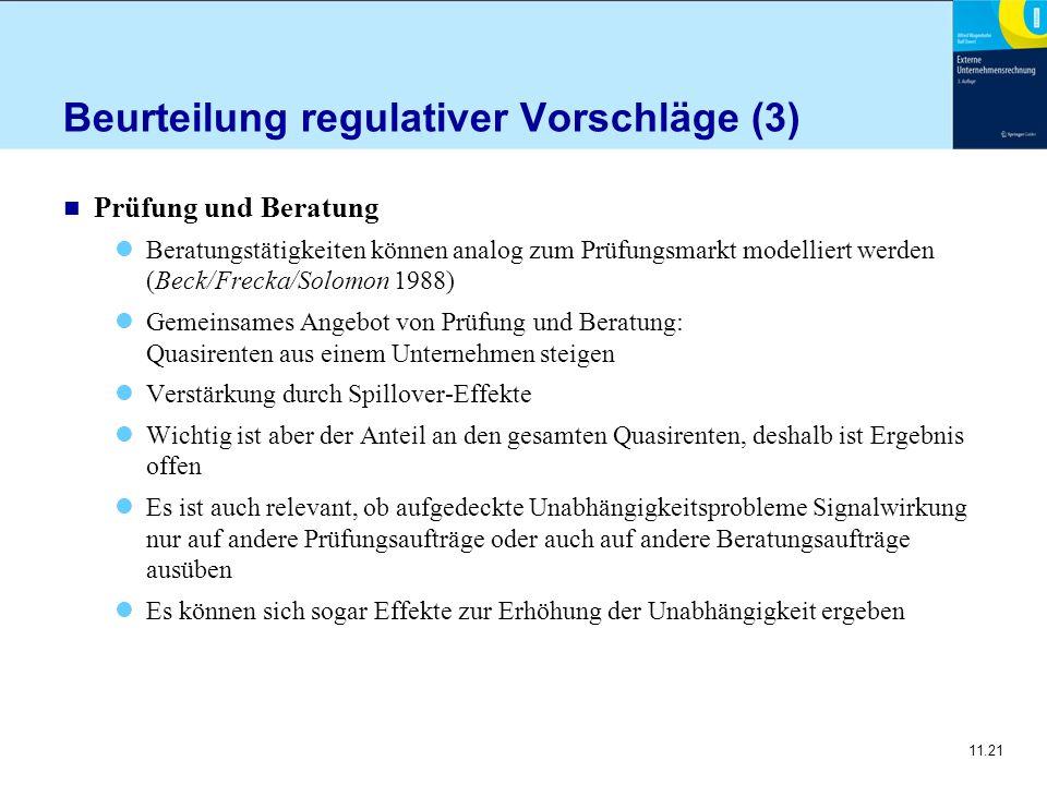 Beurteilung regulativer Vorschläge (3)