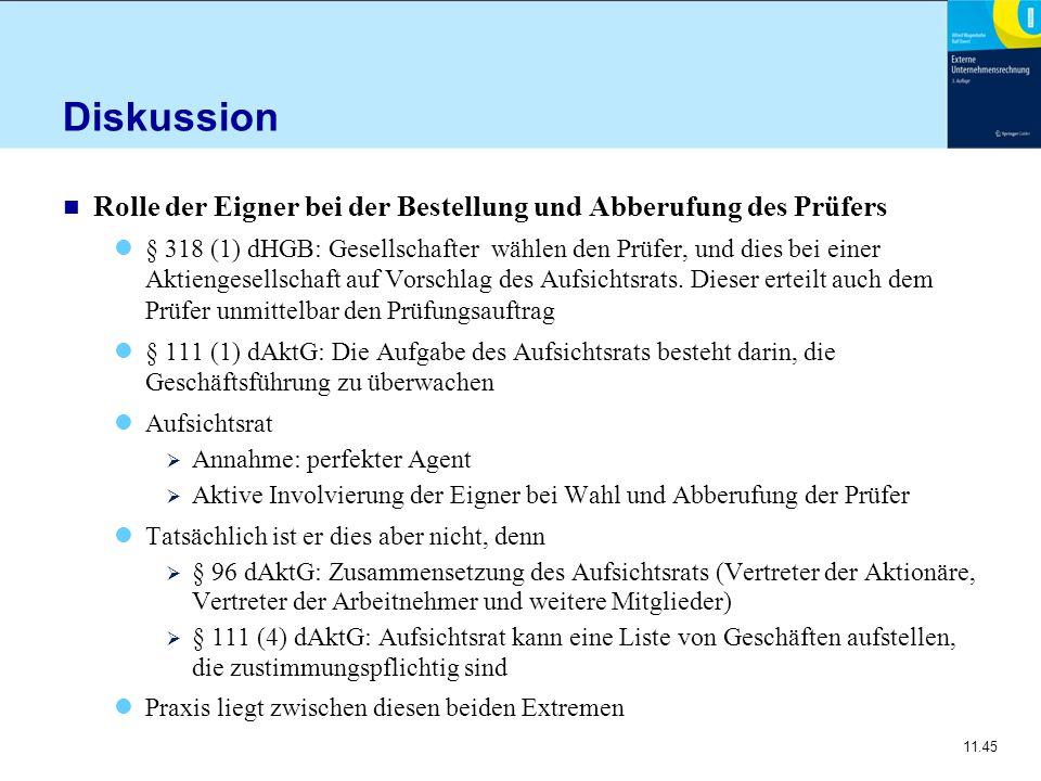 Diskussion Rolle der Eigner bei der Bestellung und Abberufung des Prüfers.