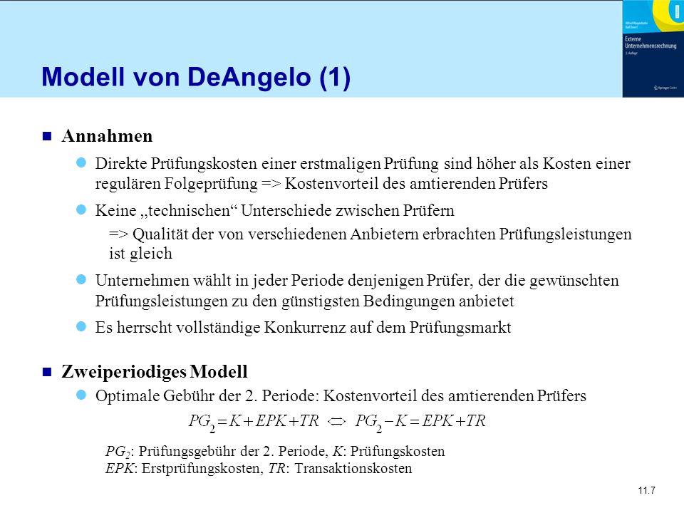 Modell von DeAngelo (1) Annahmen Zweiperiodiges Modell
