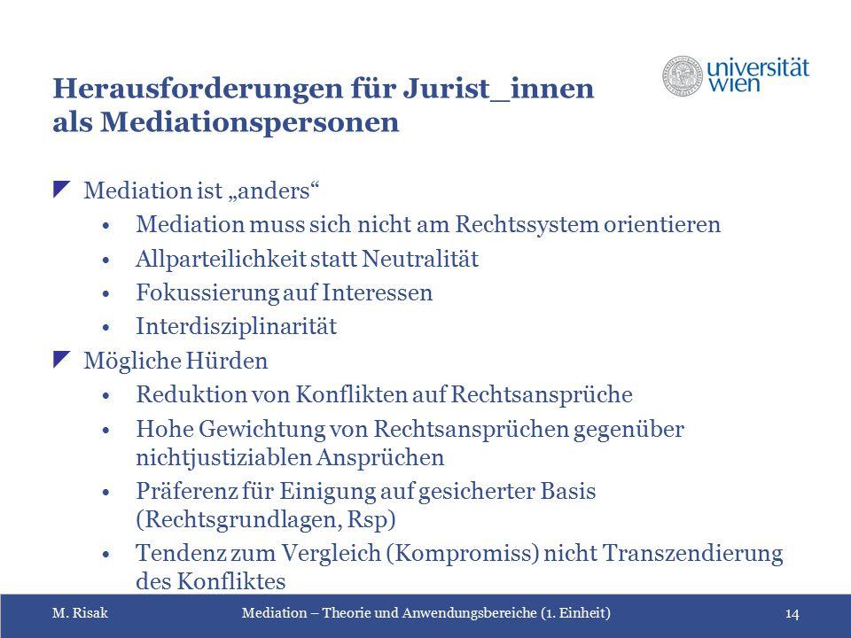 Herausforderungen für Jurist_innen als Mediationspersonen