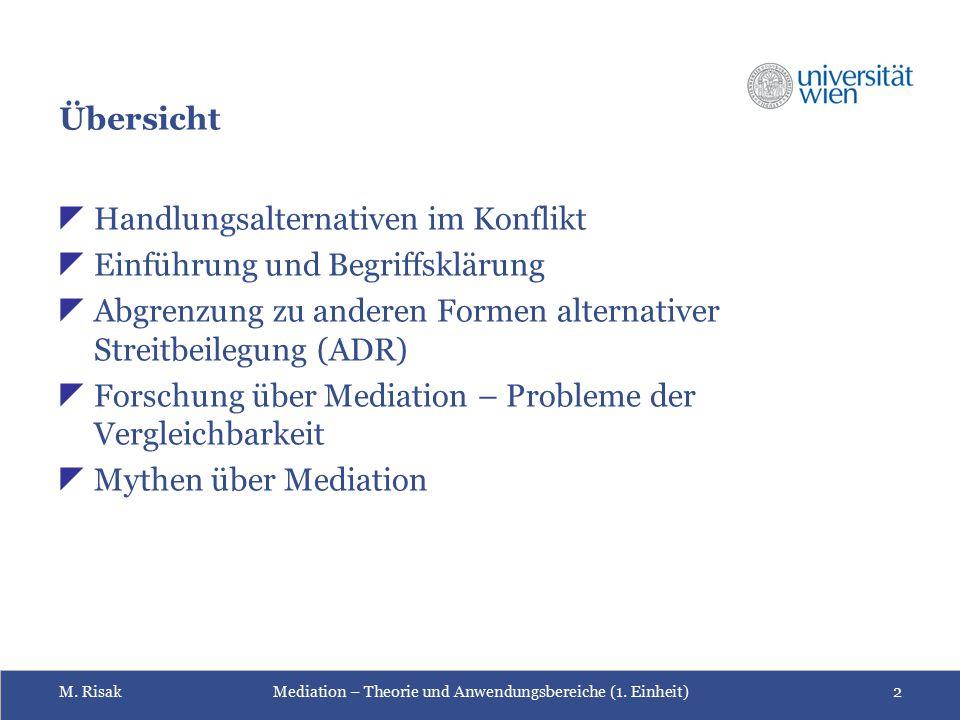 Übersicht Handlungsalternativen im Konflikt. Einführung und Begriffsklärung. Abgrenzung zu anderen Formen alternativer Streitbeilegung (ADR)