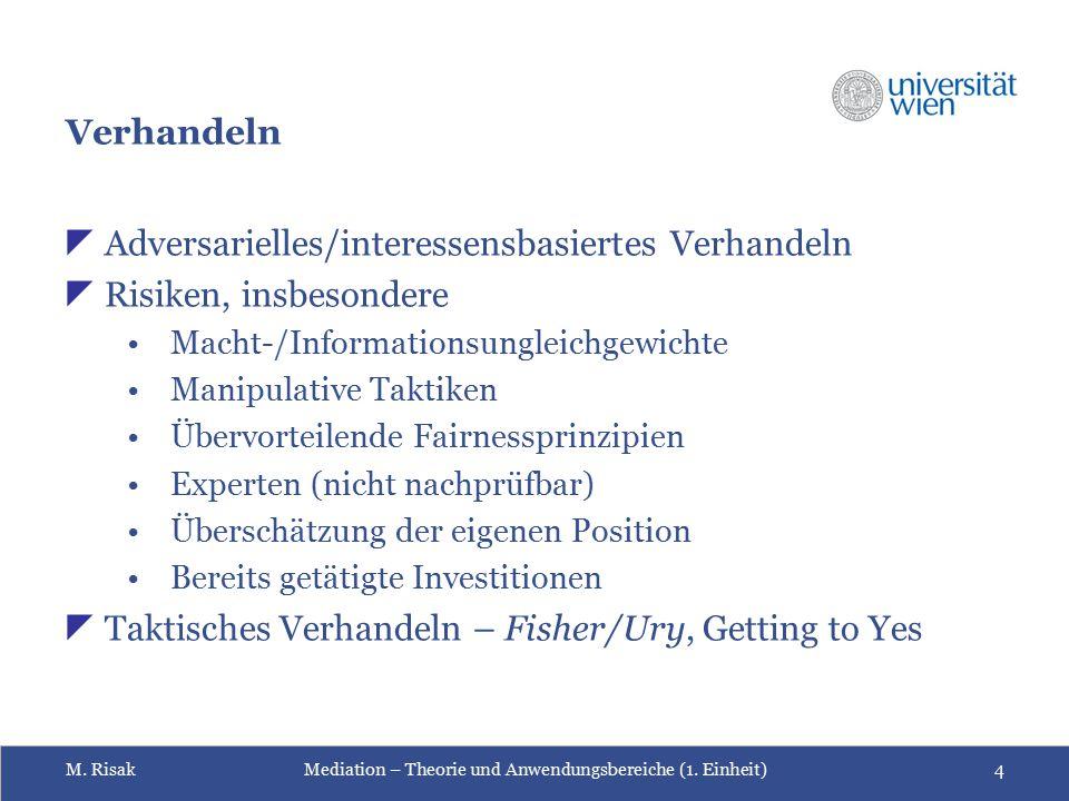 Adversarielles/interessensbasiertes Verhandeln Risiken, insbesondere