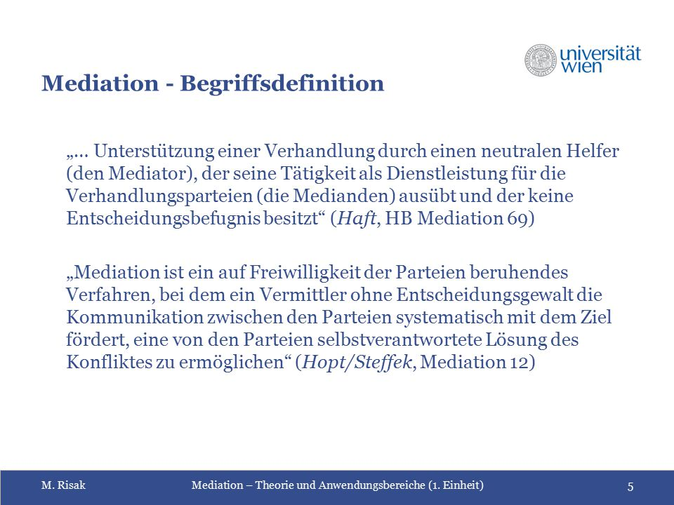 Mediation - Begriffsdefinition