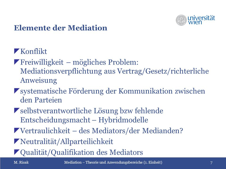 Elemente der Mediation