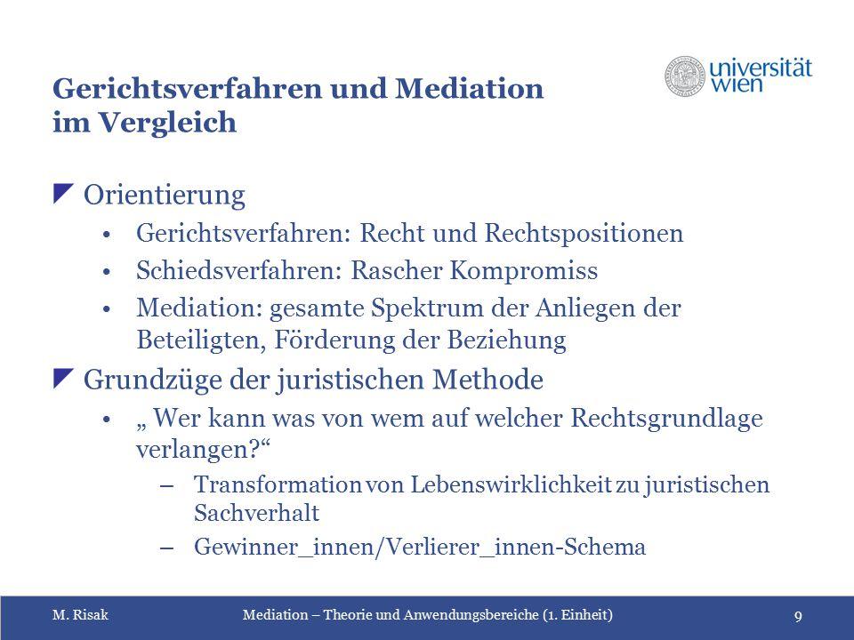 Gerichtsverfahren und Mediation im Vergleich