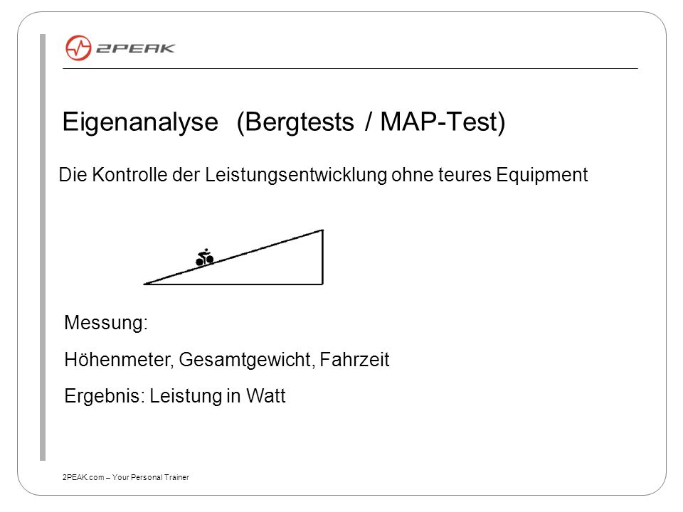 Eigenanalyse (Bergtests / MAP-Test)