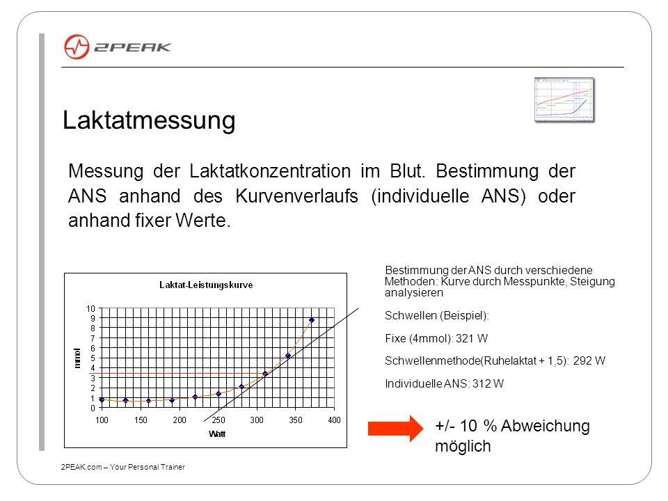 Laktatmessung Messung der Laktatkonzentration im Blut. Bestimmung der ANS anhand des Kurvenverlaufs (individuelle ANS) oder anhand fixer Werte.