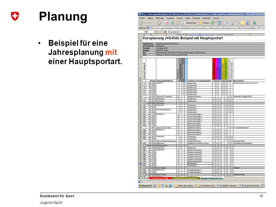 Planung Beispiel für eine Jahresplanung mit einer Hauptsportart.