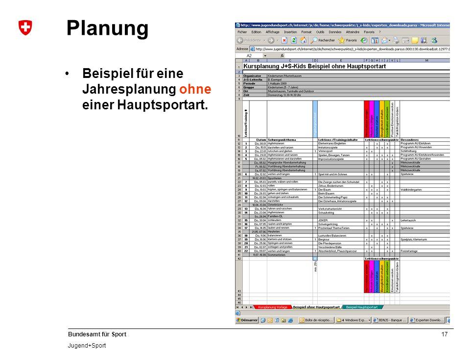 Planung Beispiel für eine Jahresplanung ohne einer Hauptsportart.