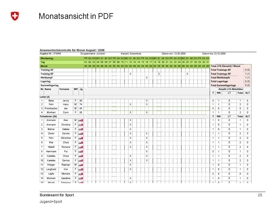 Monatsansicht in PDF