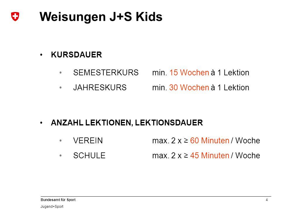 Weisungen J+S Kids KURSDAUER SEMESTERKURS min. 15 Wochen à 1 Lektion