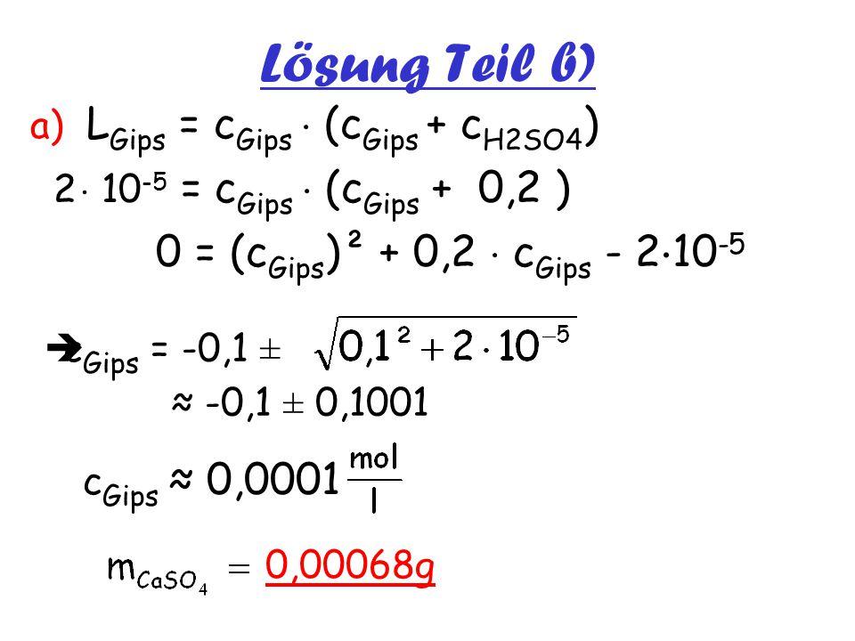 Lösung Teil b) a) LGips = cGips  (cGips + cH2SO4)