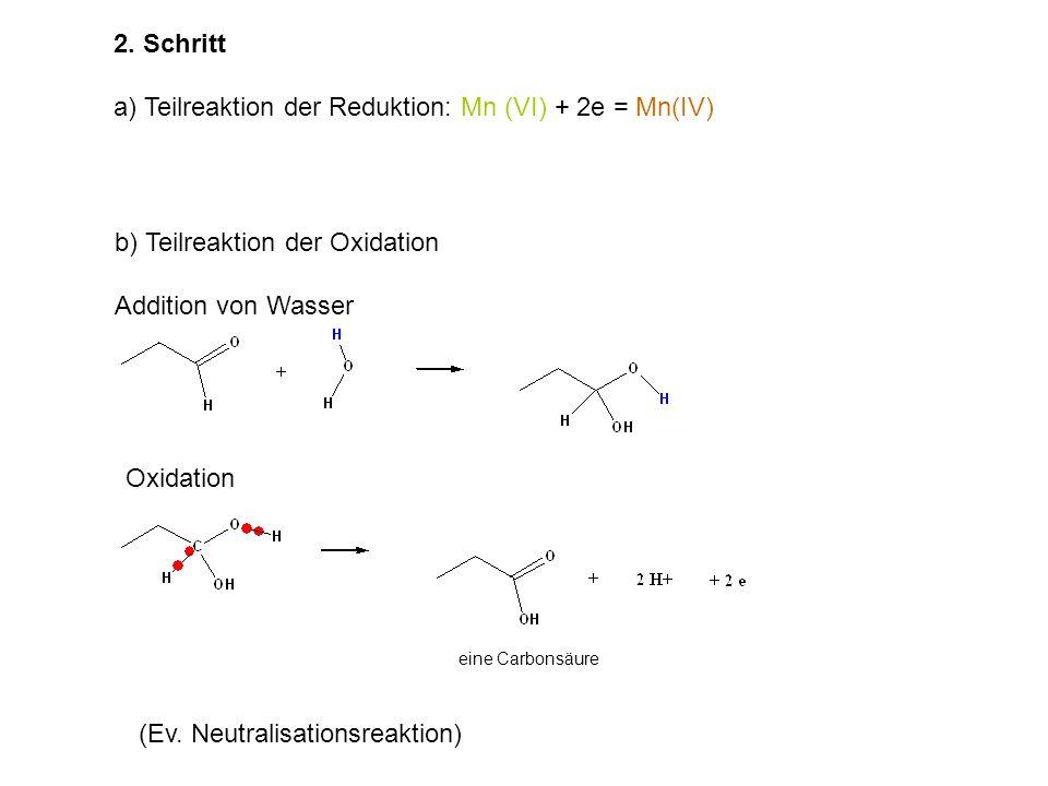 a) Teilreaktion der Reduktion: Mn (VI) + 2e = Mn(IV)