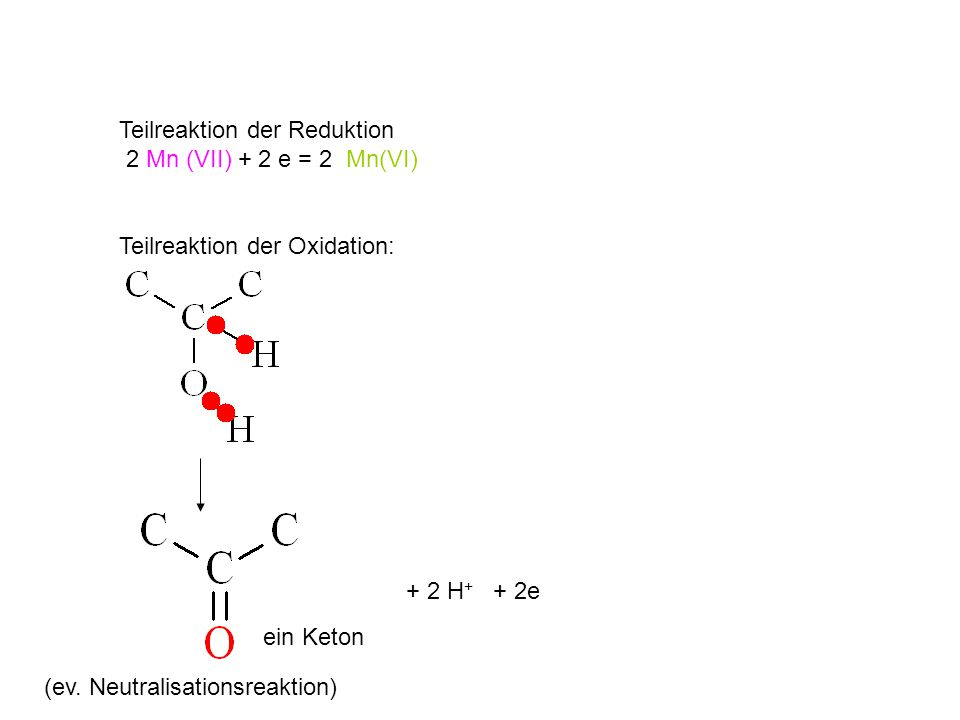 Teilreaktion der Reduktion 2 Mn (VII) + 2 e = 2 Mn(VI)