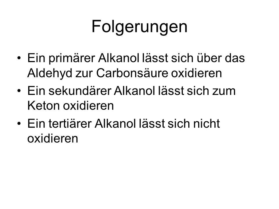 Folgerungen Ein primärer Alkanol lässt sich über das Aldehyd zur Carbonsäure oxidieren. Ein sekundärer Alkanol lässt sich zum Keton oxidieren.