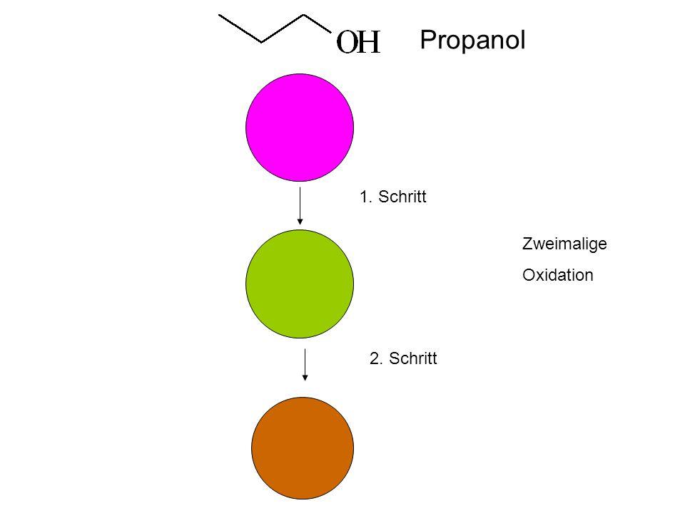 Propanol 1. Schritt Zweimalige Oxidation 2. Schritt