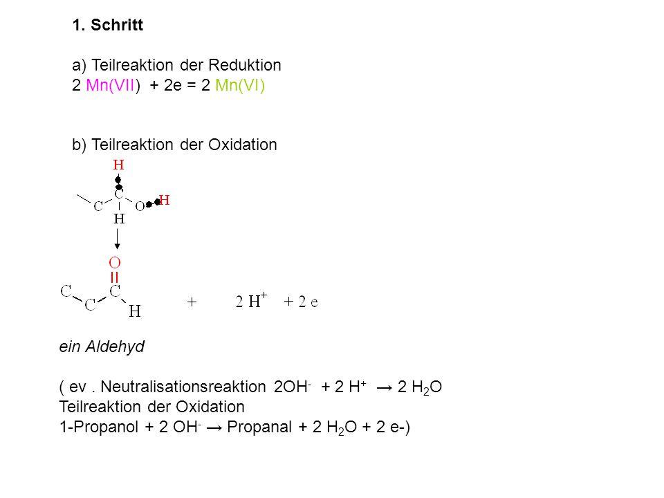 1. Schritt a) Teilreaktion der Reduktion. 2 Mn(VII) + 2e = 2 Mn(VI) b) Teilreaktion der Oxidation.