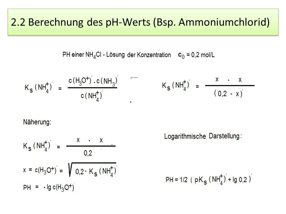 2.2 Berechnung des pH-Werts (Bsp. Ammoniumchlorid)