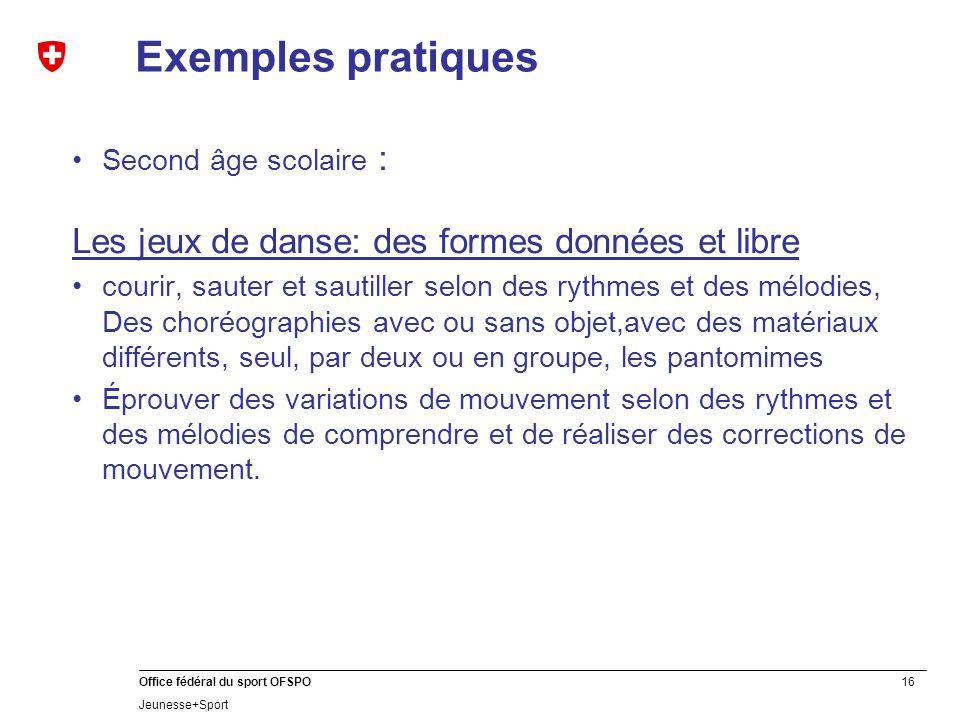 Exemples pratiques Les jeux de danse: des formes données et libre