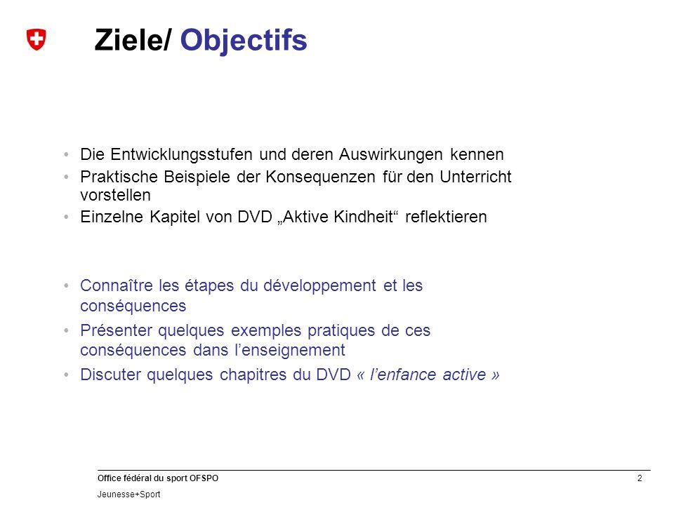 Ziele/ Objectifs Die Entwicklungsstufen und deren Auswirkungen kennen