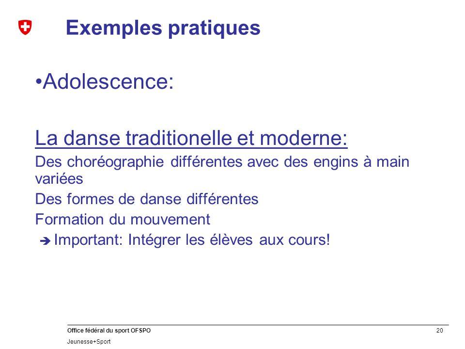 Adolescence: Exemples pratiques La danse traditionelle et moderne: