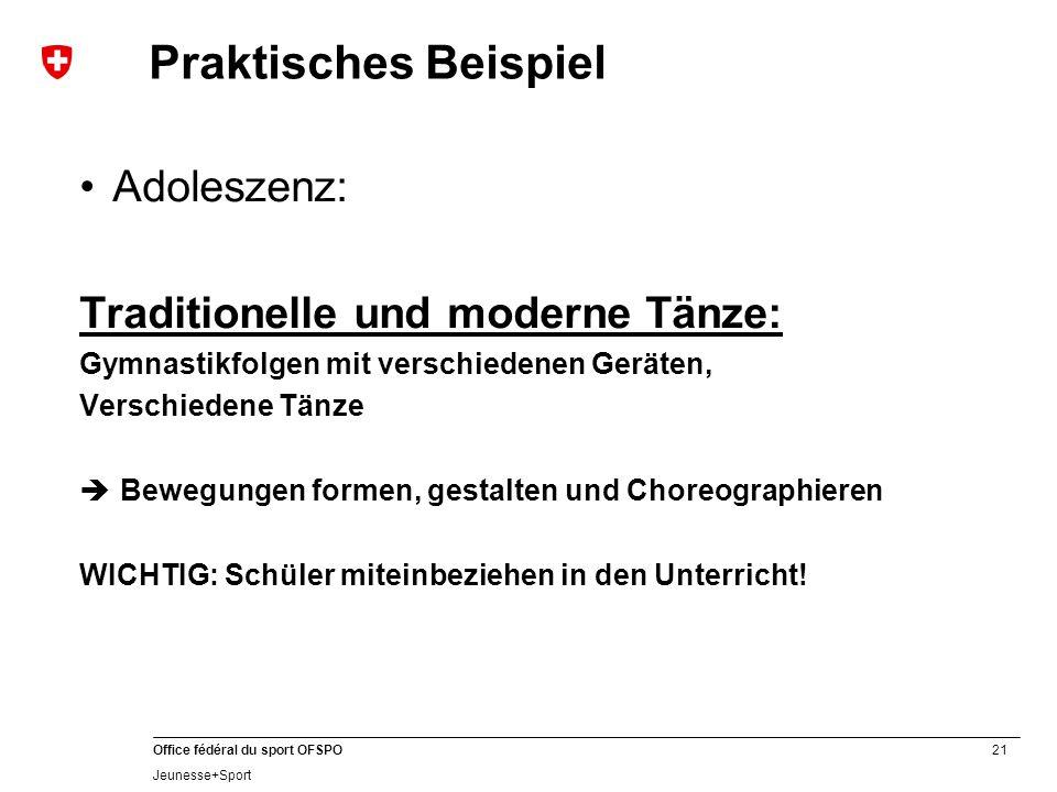 Praktisches Beispiel Adoleszenz: Traditionelle und moderne Tänze: