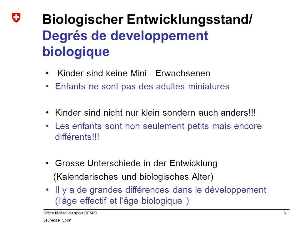 Biologischer Entwicklungsstand/ Degrés de developpement biologique