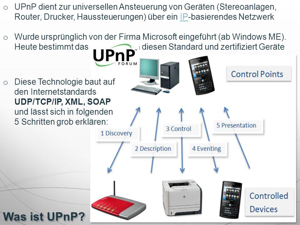 UPnP dient zur universellen Ansteuerung von Geräten (Stereoanlagen, Router, Drucker, Haussteuerungen) über ein IP-basierendes Netzwerk
