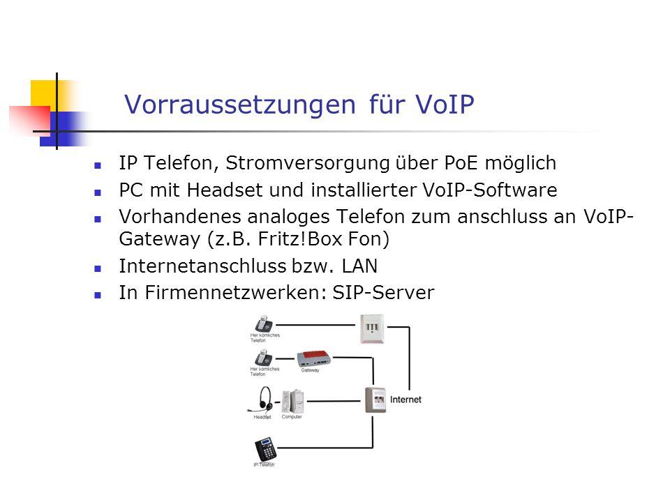 Vorraussetzungen für VoIP