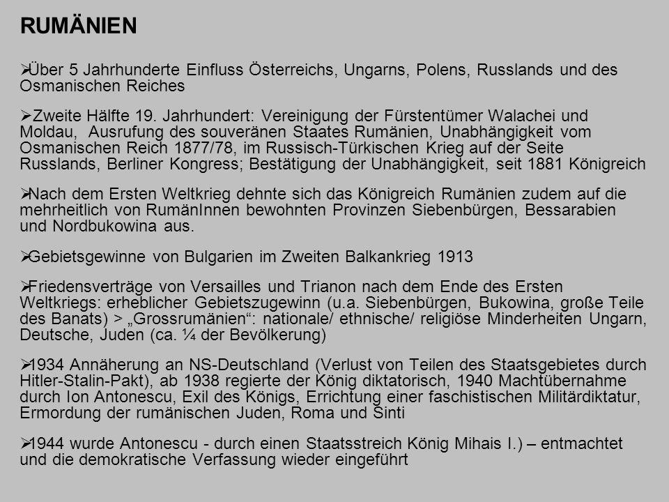 RUMÄNIEN Über 5 Jahrhunderte Einfluss Österreichs, Ungarns, Polens, Russlands und des Osmanischen Reiches.