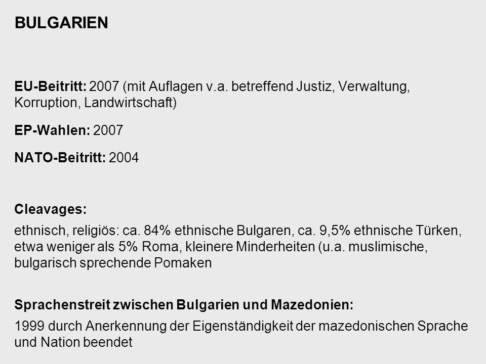 BULGARIEN EU-Beitritt: 2007 (mit Auflagen v.a. betreffend Justiz, Verwaltung, Korruption, Landwirtschaft)